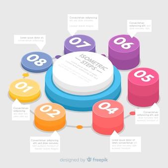 Isometrische omcirkelde infographic stappen
