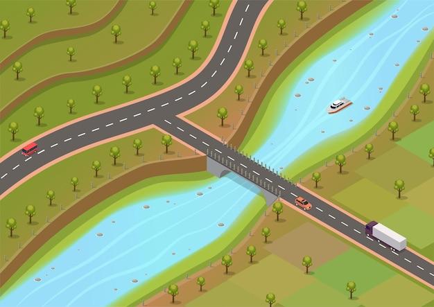 Isometrische omgeving met rivieren en wegen met bomen en voertuigen