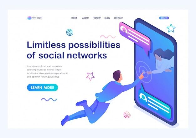 Isometrische onbeperkte mogelijkheden van sociale netwerken, een jong meisje communiceert met een jonge man via internet. online dating.