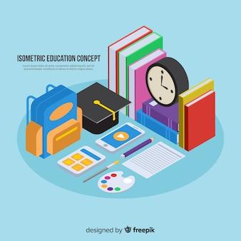 Isometrische onderwijs concept achtergrond