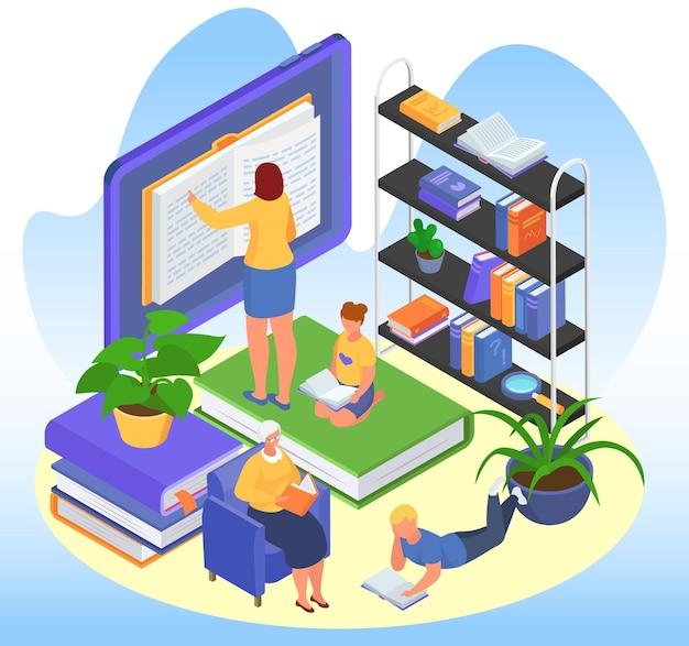 Isometrische onderwijsconcept, vectorillustratie. tiny man vrouw karakter lees boek in bibliotheek, krijg schoolkennis op tablet. oude persoon leren op fauteuil, student literatuur lezen.