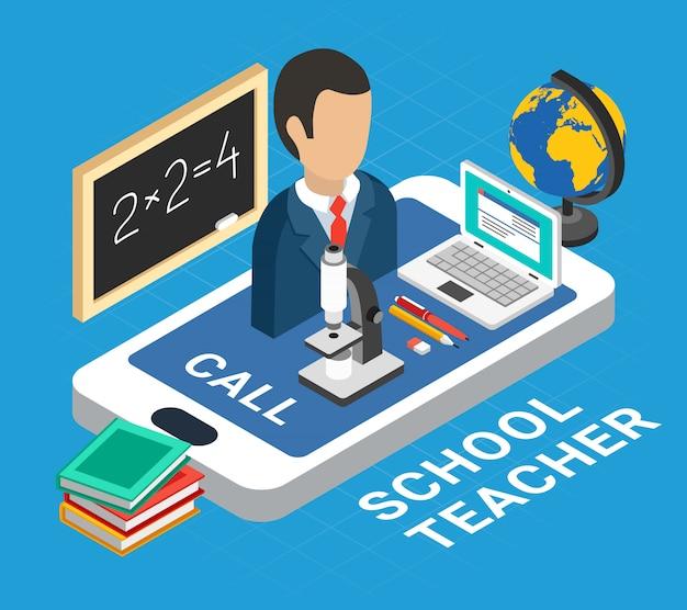 Isometrische onderwijsillustratie met schoolleraar en apparaten
