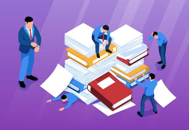 Isometrische ongeorganiseerde horizontale compositie van kantoorwerk met menselijke karakters van kantoormedewerkers onder stapels boeken