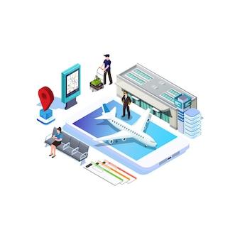 Isometrische online aankoop of boeking van kaartjes voor een vliegtuig. reis rond de wereld en landen