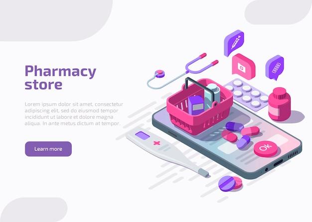 Isometrische online apotheekwinkel met pillen blisterverpakking
