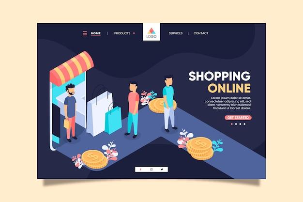 Isometrische online bestemmingspagina winkelen