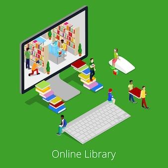 Isometrische online bibliotheek. mensen die boeken binnen computer lezen.