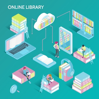 Isometrische online bibliotheekillustratie