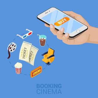 Isometrische online bioscoopkaartjes bestellen met mobiel. vector 3d platte illustratie