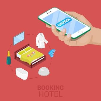 Isometrische online boeking hotelconcept met mobiel. vector 3d platte illustratie