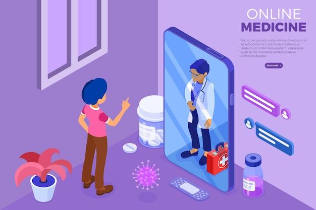 Isometrische online medische diagnostiek en artsenwerkplek. dokter adviseert patiënt online over virus met smartphone from home. isometrische vectorillustratie