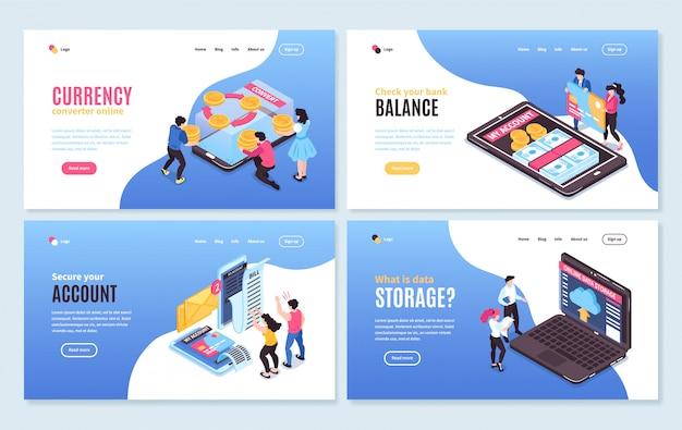 Isometrische online mobiel bankieren horizontale banners instellen met conceptuele afbeeldingen van mensen smartphones en bewerkbare tekst
