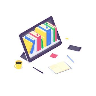 Isometrische online onderwijs studie en technologie opleiding computer leren en boek bibliotheek platte ontwerp illustratie. opleidingen studeren en lesgeven concept geïsoleerd op een witte achtergrond