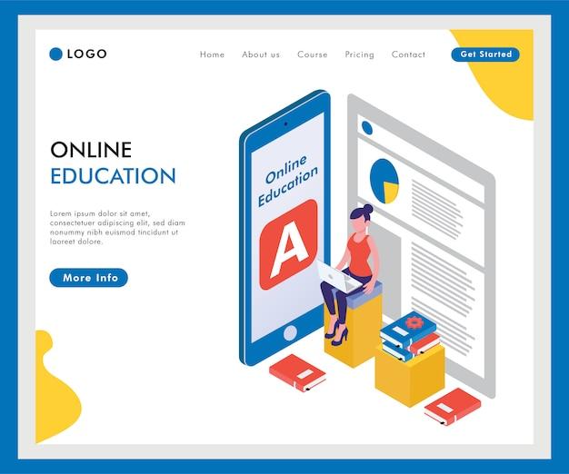 Isometrische online onderwijssjabloon