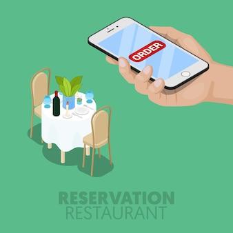 Isometrische online reservering van restauranttafel. 3d plat