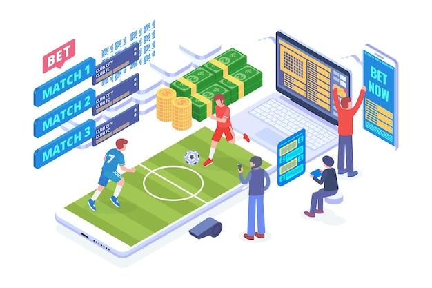 Isometrische online sportweddenschappen vector concept