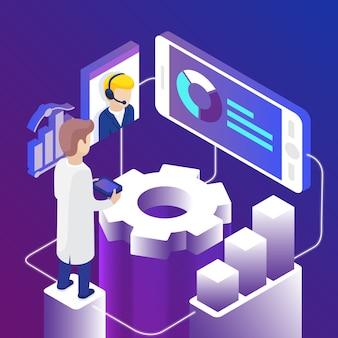 Isometrische online technische ondersteuning