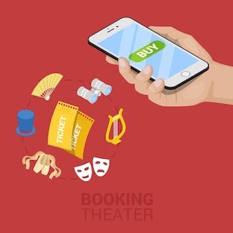 Isometrische online theaterticket boeken met mobiel. vector 3d platte illustratie