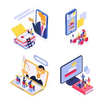 Isometrische online training technologie illustratie, student in online onderwijs, web cursus, conferentie set geïsoleerd op wit