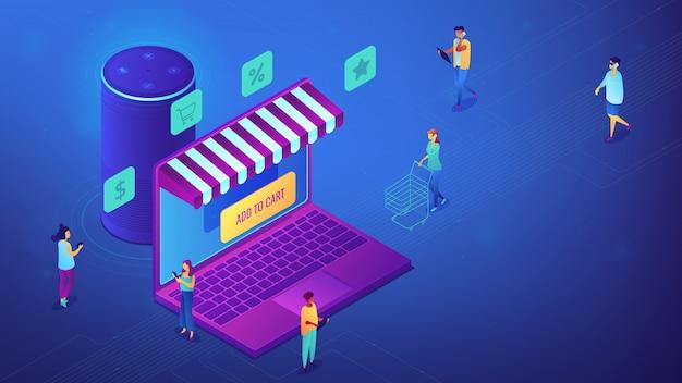 Isometrische online winkelen en slimme luidspreker illustratie.