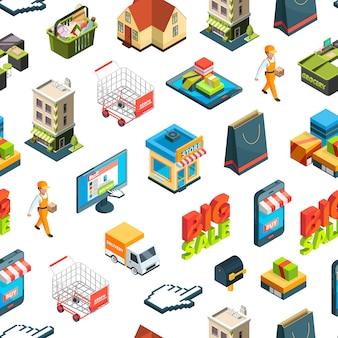 Isometrische online winkelen pictogrammen of patroon