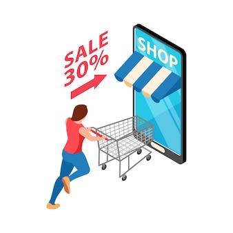 Isometrische online winkelverkoopillustratie met smartphone en karakter dat met karretje loopt