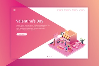 Isometrische ontwerp bestemmingspagina Valentijnsdag