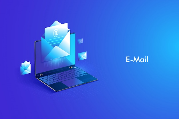 Isometrische ontwerp e-mailservice. elektronisch postbericht en webmail of mobiele service