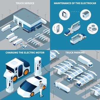Isometrische ontwerpconcept elektrische voertuigen