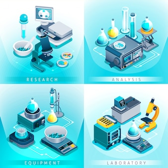 Isometrische ontwerpconcept laboratoriumapparatuur