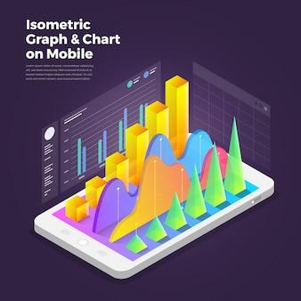 Isometrische ontwerpconcept mobiele applicatie analytics tools.