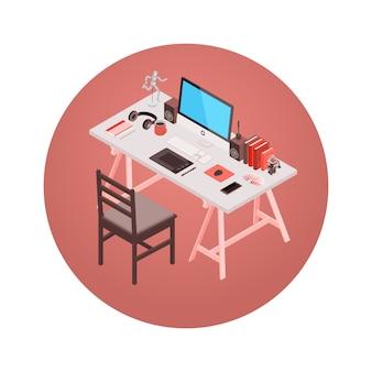Isometrische ontwerper werkplek