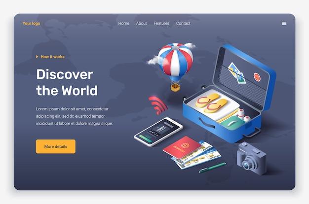 Isometrische open koffer, strandslippers, creditcard, kaartjes, telefoon, fotocamera, luchtballon, wolken, paspoort en kaartjes. sjabloon voor bestemmingspagina's.