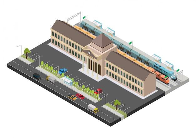 Isometrische openbare treinstation gebouw