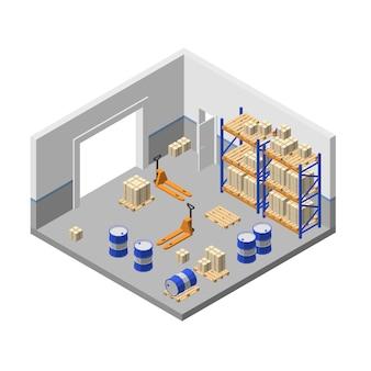 Isometrische opslag, fabrieksmagazijn, logistiek, leveringspakhuis met planken, dozen