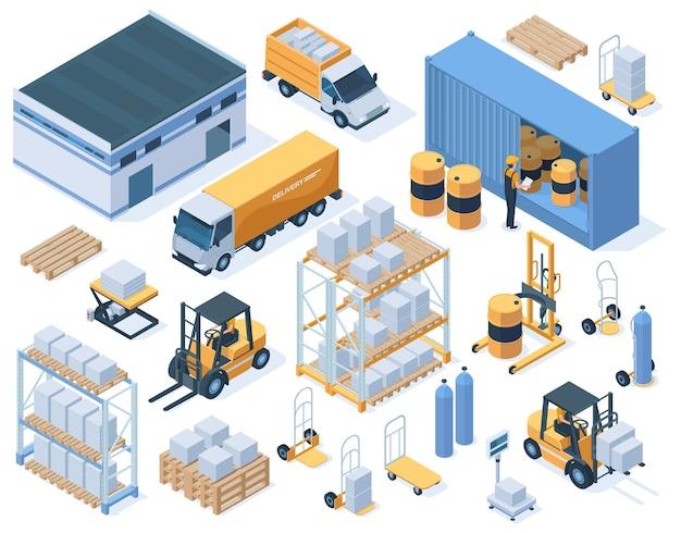 Isometrische opslaggebouwen, vrachtwagens en magazijnmedewerkers. industriële magazijnuitrusting, levering service vector illustratie set. magazijnopslagelementen en isometrisch bouwen van vracht