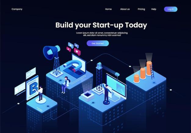 Isometrische opstarten bedrijf bedrijf illustratie dienstverleningsconcept bouwen