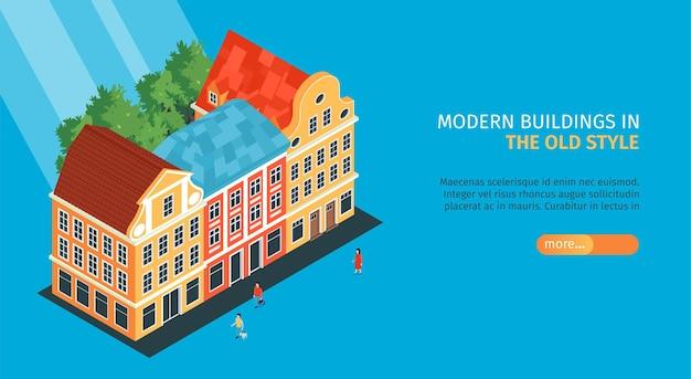 Isometrische oude stad horizontale banner