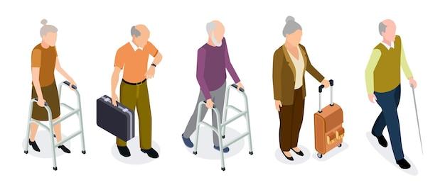 Isometrische ouderen vector set. actieve oudere vrouwen en mannen geïsoleerd