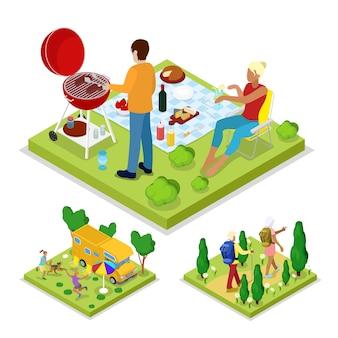 Isometrische outdoor activity illustratie
