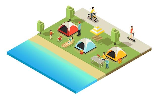 Isometrische outdoor recreatie concept