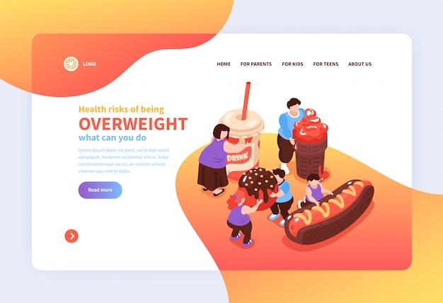 Isometrische overeten veelvraat website pagina ontwerp achtergrond met afbeeldingen van schadelijke voedsel mensen links en tekst illustratie