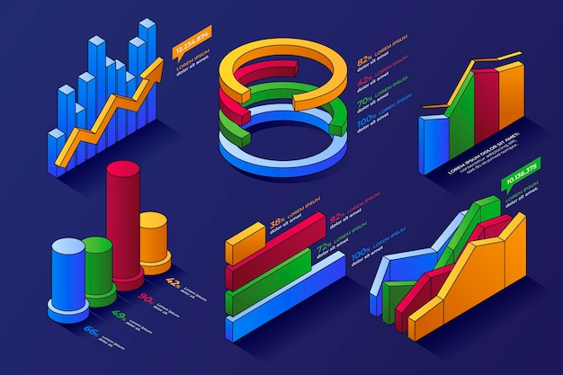 Isometrische overzicht infographic element collectie