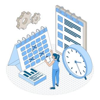 Isometrische overzicht tijd management concept
