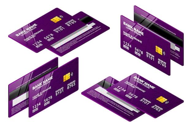 Isometrische paarse creditcardverzameling