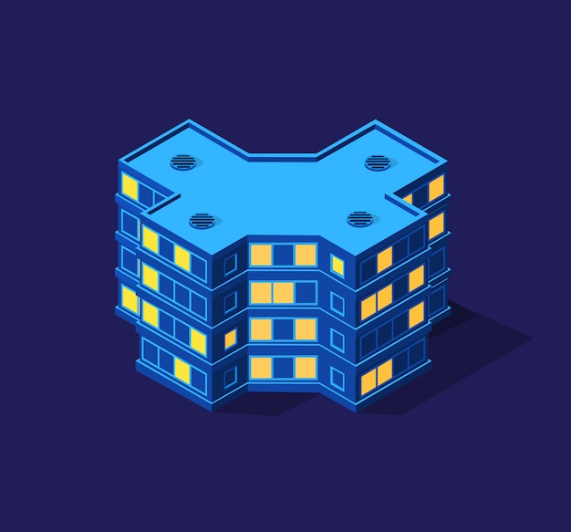 Isometrische paarse ultra landschap toekomstige stad 3d illustratie