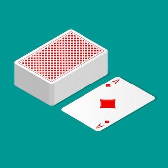 Isometrische pak pokerkaarten ondersteboven en één kaartkleur omhoog. speelkaarten met ontwerp op de achterkant.