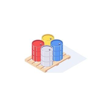 Isometrische pallet met metalen vaten illustratie