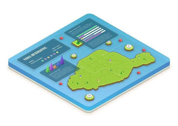 Isometrische parijs kaart infographic