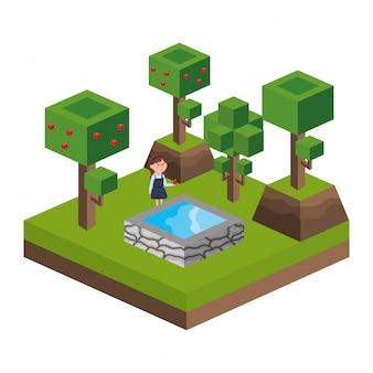 Isometrische park activiteit cartoon